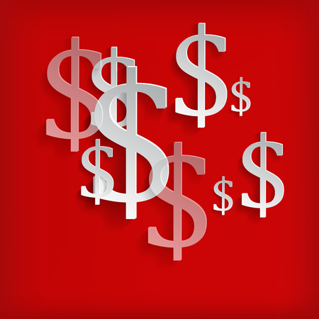 dollar sign icon: White dollar symbols on red background - vector illustration