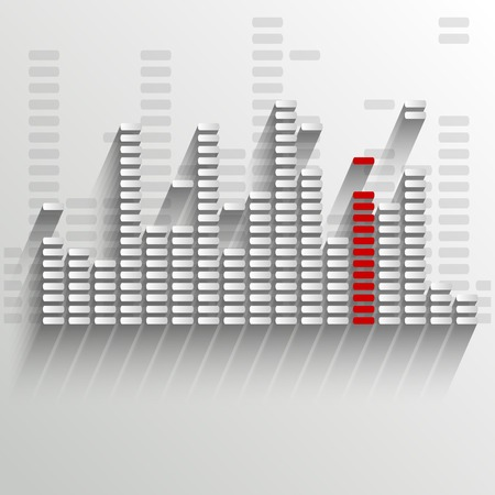 volume glow light: equalizer on white with red strip - vector illustration