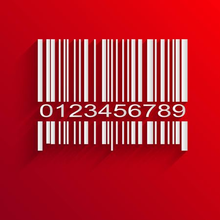 bar codes: Barcode image on red background - vector illustration
