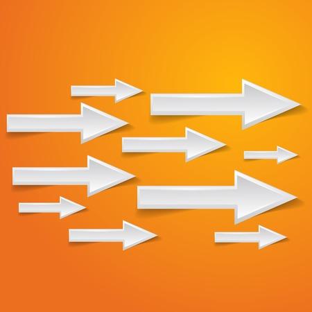 white arrow on orange background - vector illustration Vector