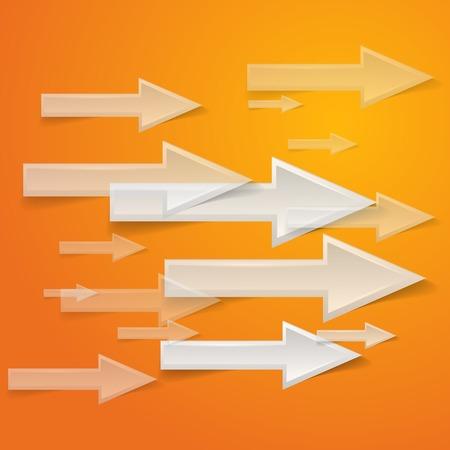 white arrow on orange background Vector