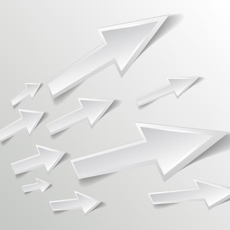 satined: white arrow on white background - vector illustration Illustration