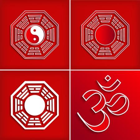 trigram: Chinese religion symbol set on red - vector illustration