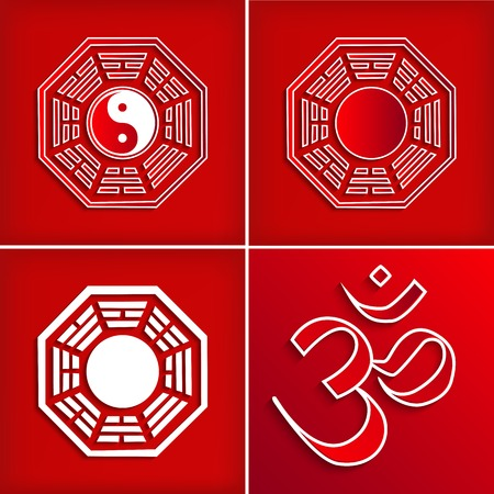 Chinese religion symbol set on red - vector illustration