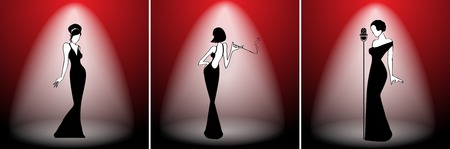 cabaret stage: Abstract retro girl on scene set - vector illustration