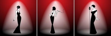 cabaret: Abstract retro girl on scene set - vector illustration