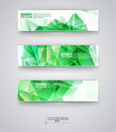 Business design templates. Set of Banners with Multicolored Polygonal Mosaic Backgrounds. Geometric Triangular Abstract Modern Vector Illustration. Ilustrace