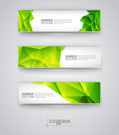 Business design templates. Set of Banners with Multicolored Polygonal Mosaic Backgrounds. Geometric Triangular Abstract Modern Vector Illustration. Ilustracja