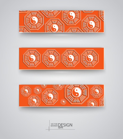 Buddhism design templates. Set of Banners with Religion Symbols Backgrounds. Ba-gua Forms Abstract Traditional Vector Illustration. Ilustração