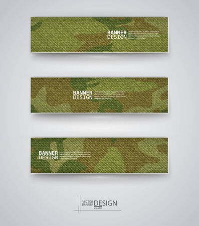 army background: Set of abstract banner with khaki background. Vector illustration.