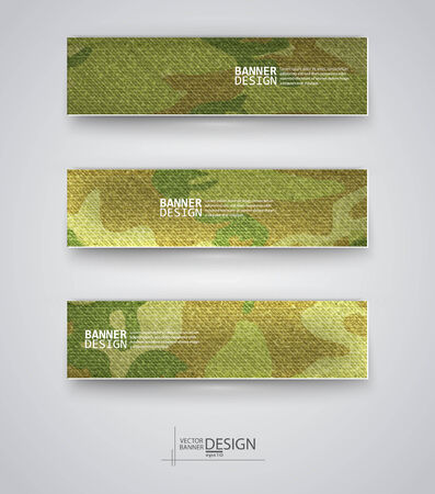 army camo: Set of abstract banner with khaki background. Vector illustration.