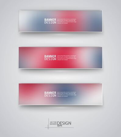 red rose background: Business design templates. Set of Banners with Multicolored Blured Backgrounds. Unfocused Abstract Modern Vector Illustration. Illustration