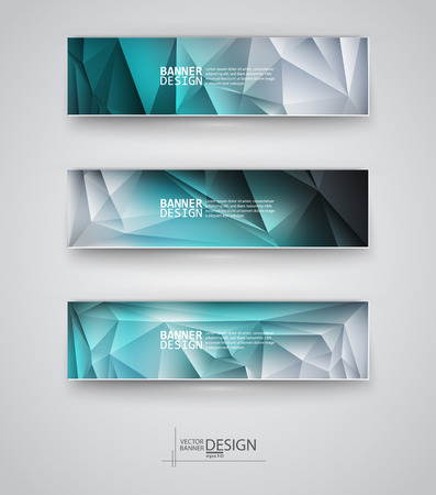 Business design templates. Set of Banners with Multicolored Polygonal Mosaic Backgrounds. Geometric Triangular Abstract Modern Vector Illustration. Vectores