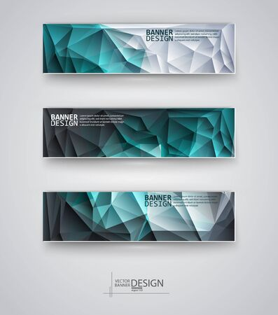 triangular shape: Business design templates. Set of Banners with Multicolored Polygonal Mosaic Backgrounds. Geometric Triangular Abstract Modern Vector Illustration. Illustration