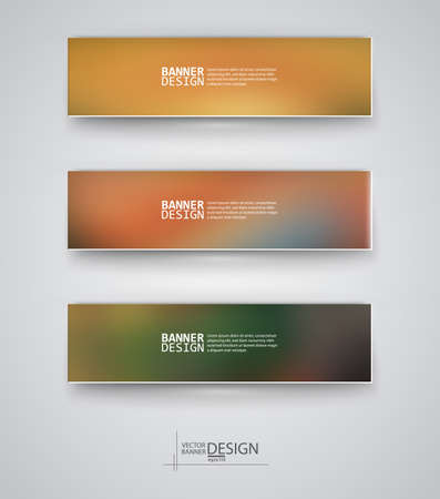 Business design templates. Set of Banners with Multicolored Blured Backgrounds. Unfocused Abstract Modern Vector Illustration. Vector