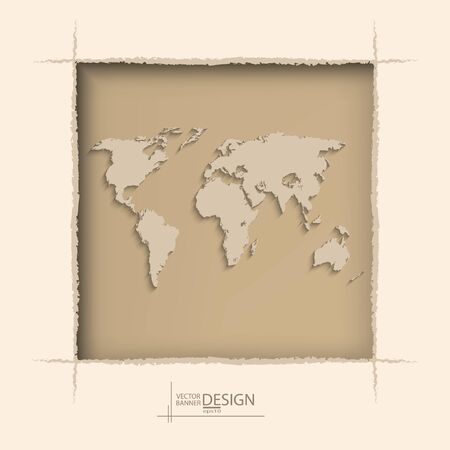 window hole: Abstract background with world map on coffee wall - vector illustration