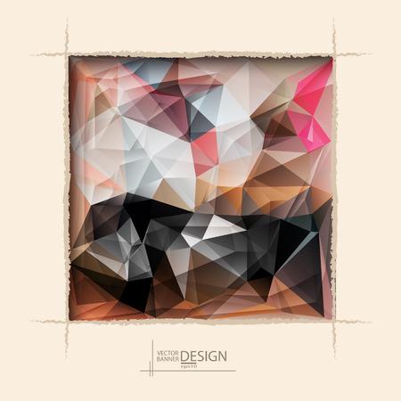 roztrhaný: Vícebarevná design šablony. Geometrické Trojúhelníkový abstraktní moderní vektorové pozadí. čtvercový otvor roztrhaný na kavárna zeď.