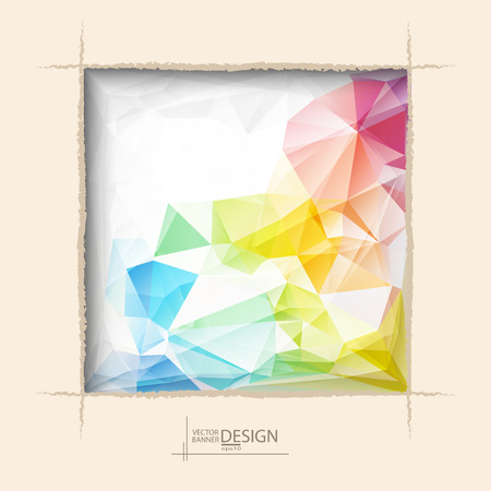 Multicolor Design Templates. Geometric Triangular Abstract Modern Vector Background. square ragged hole on cofee wall.