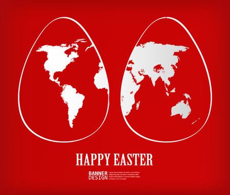 europe closeup: Two white easter eggs with global map pattern on red background