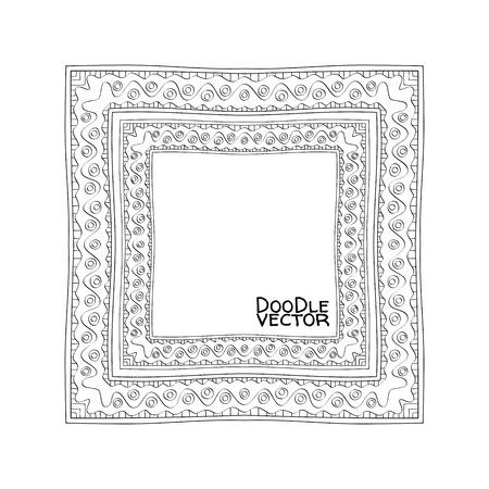 photo frames: Hand Drawn Doodle Border Frames. Vector illustration.