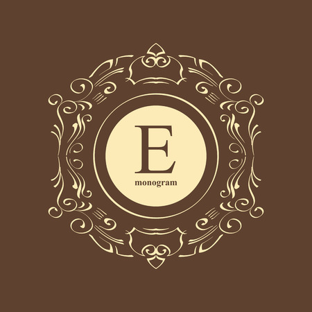 fashion jewelry: Elegant monogram design template. Luxury calligraphic emblem frame ornament. Line logo design. Vector illustration good for Boutique, Restaurant, Cafe, Heraldic, Hotel, Fashion, Jewelry.