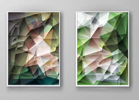 multicolored: Business design templates. Brochure with Multicolored Polygonal Mosaic Backgrounds. Geometric Triangular Abstract Modern Vector Illustration.