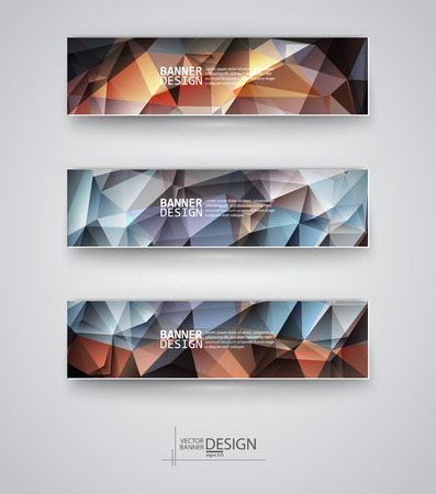 Business design templates. Set of Banners with Multicolored Polygonal Mosaic Backgrounds. Geometric Triangular Abstract Modern Vector Illustration. Illustration