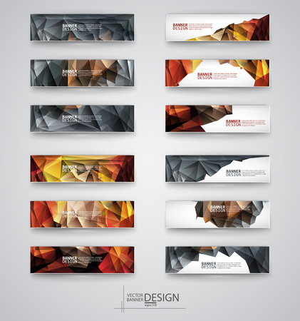 website banner: Business design templates. Set of Banners with Multicolored Polygonal Mosaic Backgrounds. Geometric Triangular Abstract Modern Vector Illustration. Illustration