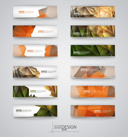 Business design templates. Set of Banners with Multicolored Polygonal Mosaic Backgrounds. Geometric Triangular Abstract Modern Vector Illustration. Ilustração