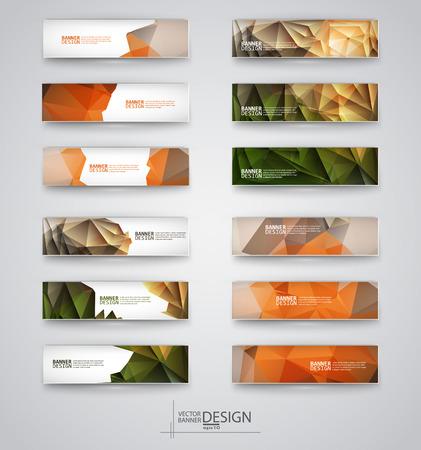 Zakelijke design templates. Set van banners met veelkleurige Polygonal Mozaïek Achtergronden. Geometrische driehoekige Abstracte Moderne Vector Illustratie. Stock Illustratie