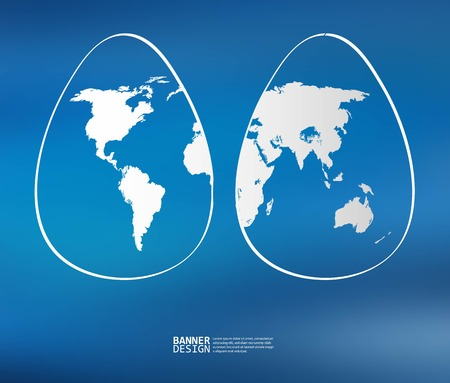europe closeup: Two white easter eggs with global map pattern on blue background - Vector illustration