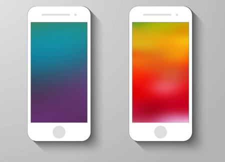 technology wallpaper: Set of Abstract Colour Mobile Phones Blurred Backgrounds. Collection of Technology Wallpaper Designs. Vector Illustrations.
