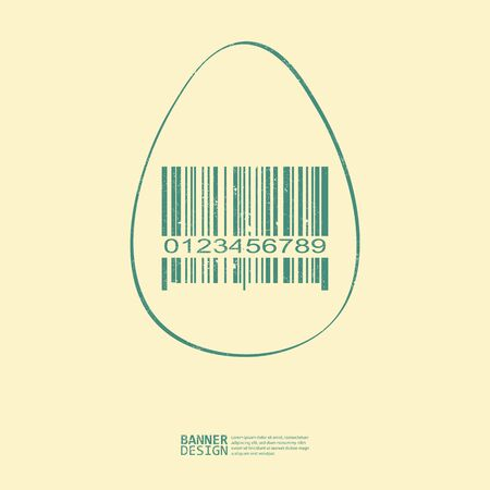 expensive food: Green egg with bar-code symbol. Art design. On yellow background - vector illustration Illustration