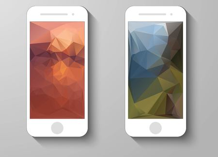 technology wallpaper: Set of Abstract Colour Mobile Phones Triangle Backgrounds. Collection of Technology Wallpaper Designs. Vector Illustrations. Vettoriali