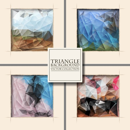 roztrhaný: Multicolor Design Templates Set. Geometric Triangular Abstract Modern Vector Background. square ragged hole on coffee wall.