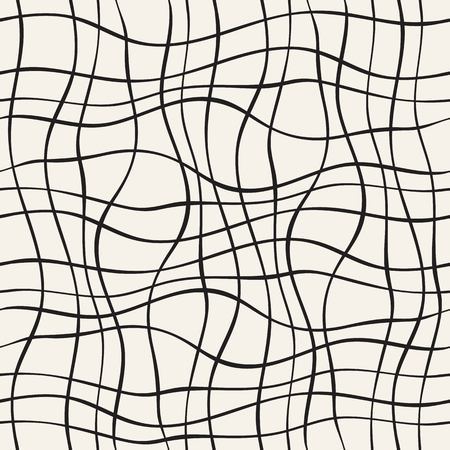 grass weave: Abstract seamless pattern with wave lines. Hand drawn graphic. Simple stylized texture of covering. Vector illustration.