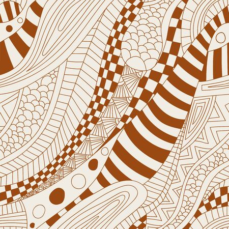 abstract doodle: Abstract zentangle doodle waves seamless pattern. Vector illustration. Illustration