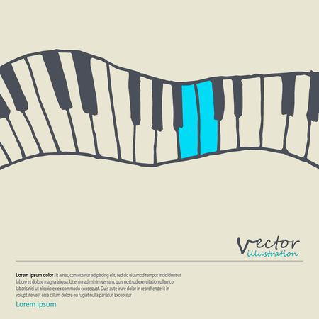 Piano keys sketch. Abstract music background. Monochrome design. Vector illustration