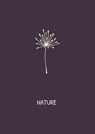 Abstract flower on purple background. Minimalist styled dandelion. Vector illustration. Illustration