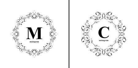 fashion jewelry: Elegant monogram design template. Luxury calligraphic emblem frame ornament. illustration good for Boutique, Restaurant, Cafe, Heraldic, Hotel, Fashion, Jewelry.