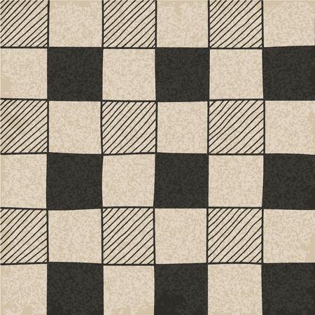 chessboard: Hand drawn abstract chessboard pattern. Vector illustration. Illustration