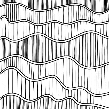 Hand getrokken abstract golfpatroon. Vector illustratie. Vector Illustratie