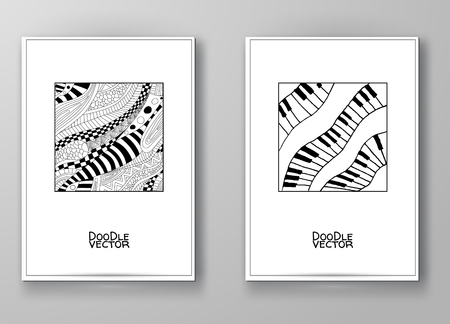 drawing paper: Set of abstract design templates. Brochures Black and White style. Vintage frames and backgrounds. Vector Illustration. Illustration