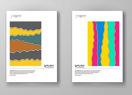book cover: Set of abstract design templates. Brochures unusual color shapes style. Vintage frames and backgrounds.