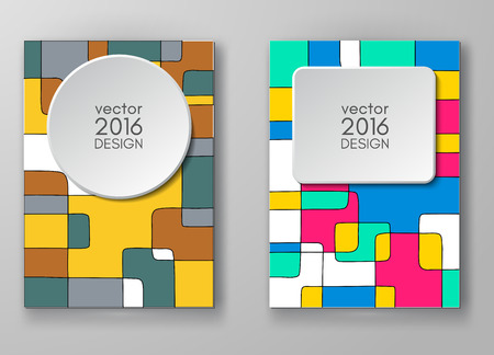 portadas libros: Set of abstract design templates. Brochures unusual color shapes style. Vintage frames and backgrounds. Vector Illustration.