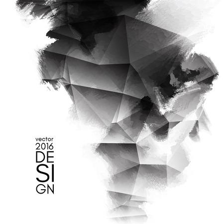 Abstracte inkblot achtergrond. Monochroom grunge verf ontwerp. Vector illustratie.