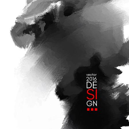 Abstract inkblot background. Monochrome grunge paint design. Vector illustration. Ilustração Vetorial
