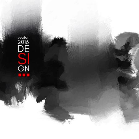 inkblot sfondo astratto. Monochrome grunge disegno vernice. Illustrazione vettoriale. Vettoriali