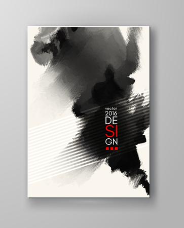 インクブロット背景を抽象化します。モノクロのグランジ デザインを描く。ベクトルの図。  イラスト・ベクター素材