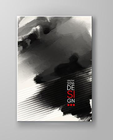 Abstract inkblot background. Monochrome grunge paint design. Vector illustration. 向量圖像